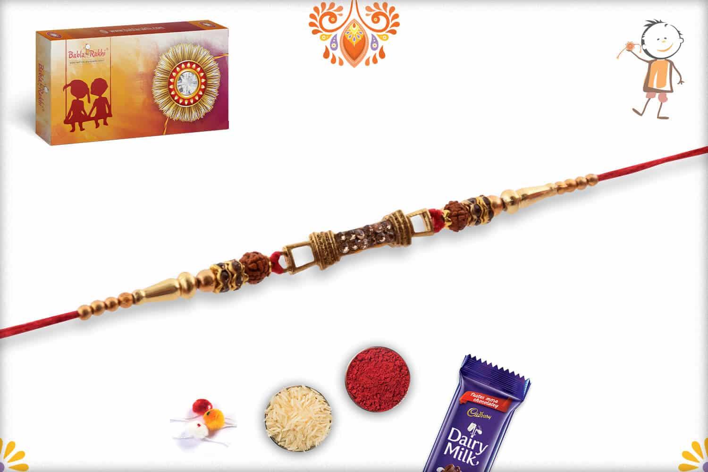 Premium Copper Diamond Rakhi with Auspicious Rudraksh   Send Rakhi Gifts Online 3