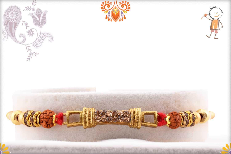 Premium Copper Diamond Rakhi with Auspicious Rudraksh   Send Rakhi Gifts Online 1