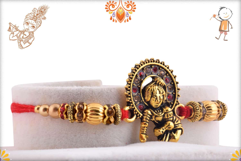 Divine Bal Krishna Rakhi with Golden Beads   Send Rakhi Gifts Online 2