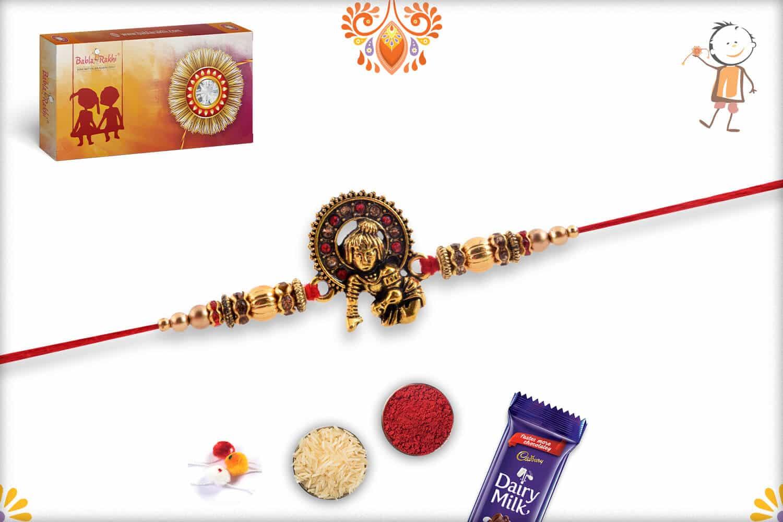 Divine Bal Krishna Rakhi with Golden Beads   Send Rakhi Gifts Online 3