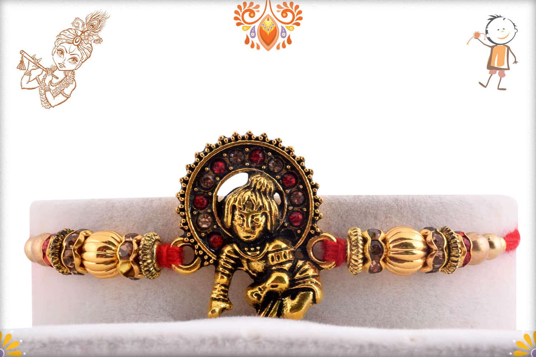 Divine Bal Krishna Rakhi with Golden Beads   Send Rakhi Gifts Online 1