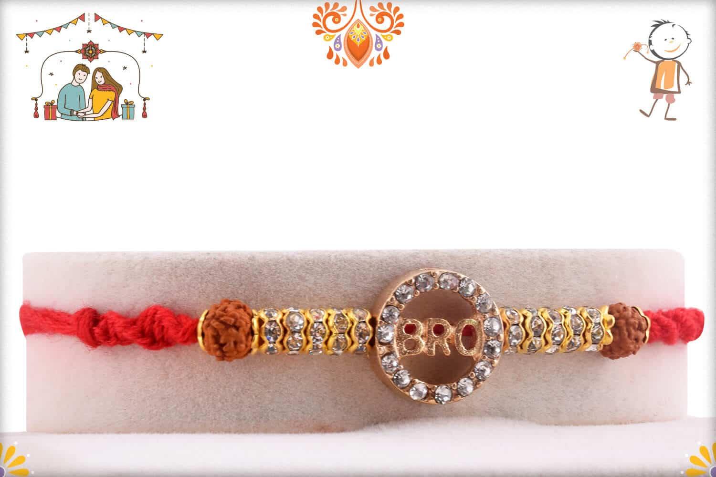 Stunning Bro Diamond Rakhi with Rudraksh | Send Rakhi Gifts Online 1