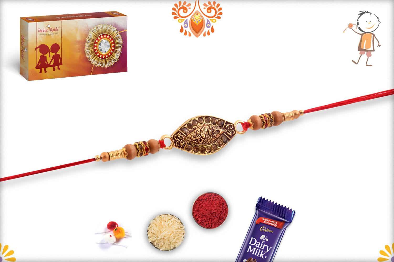 Antique Copper Diamond Rakhi with Classic Sandalwood Beads | Send Rakhi Gifts Online 2