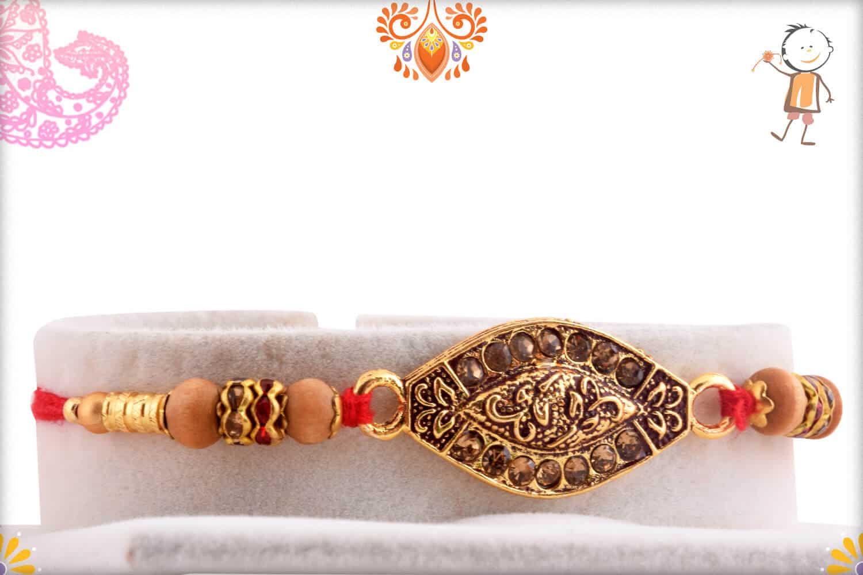 Antique Copper Diamond Rakhi with Classic Sandalwood Beads | Send Rakhi Gifts Online 1