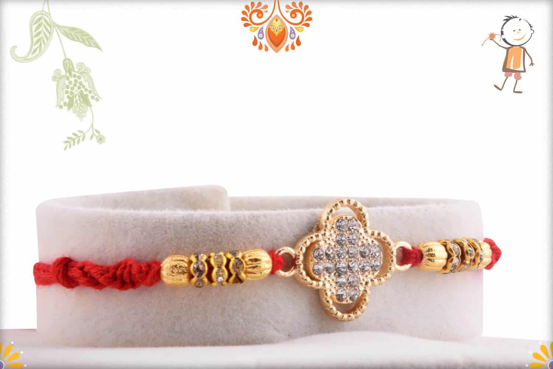 Designer Quatrefoil Shape Diamond Rakhi 1