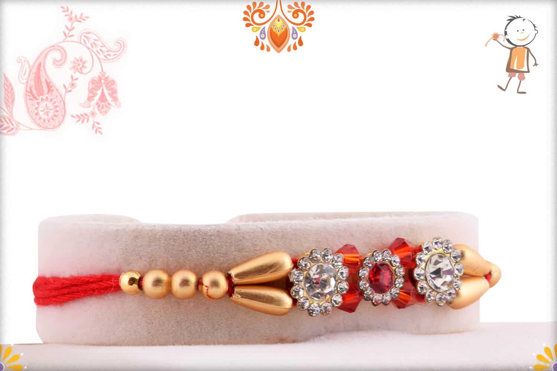 Premium Diamond Rakhi with Red and Golden Beads 2