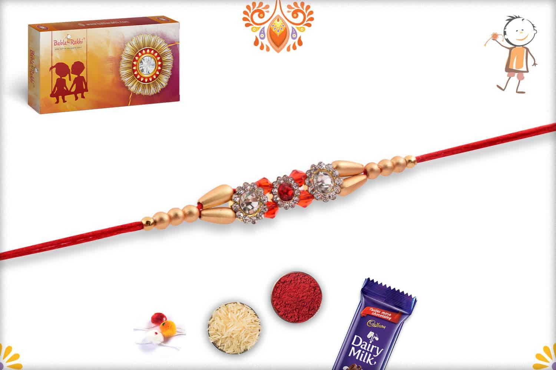 Premium Diamond Rakhi with Red and Golden Beads 3