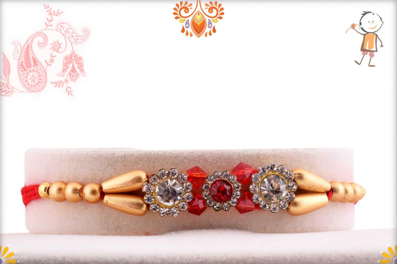 Premium Diamond Rakhi with Red and Golden Beads 1