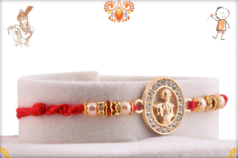 Beautiful Lord Krishna Diamond Rakhi Pearls | Send Rakhi Gifts Online 2