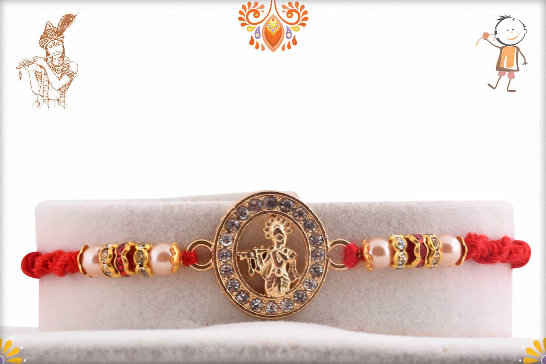 Beautiful Lord Krishna Diamond Rakhi Pearls | Send Rakhi Gifts Online 1