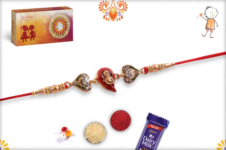 Meenakari Red Leaf Ganpati Diamond Rakhi   Send Rakhi Gifts Online 2