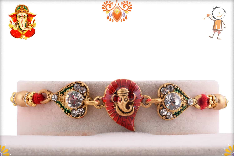 Meenakari Red Leaf Ganpati Diamond Rakhi   Send Rakhi Gifts Online 1