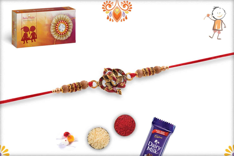 Meenakari Ganpati Diamond Rakhi | Send Rakhi Gifts Online 2
