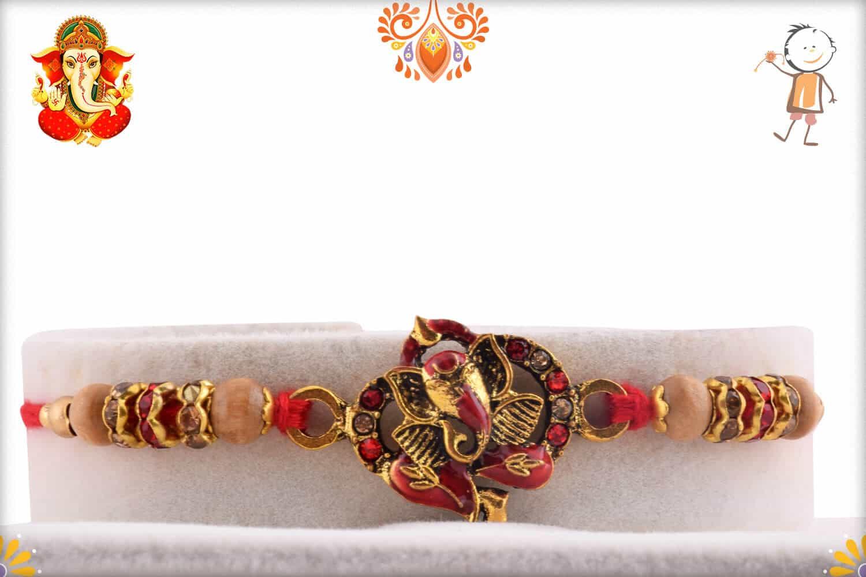 Meenakari Ganpati Diamond Rakhi | Send Rakhi Gifts Online 1