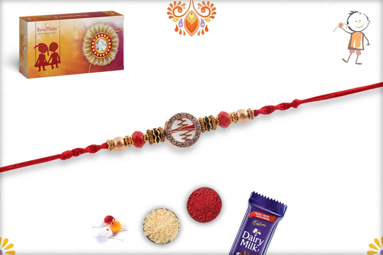 Unique Heart Beat Diamond Rakhi with Crystal Red Beads   Send Rakhi Gifts Online 2