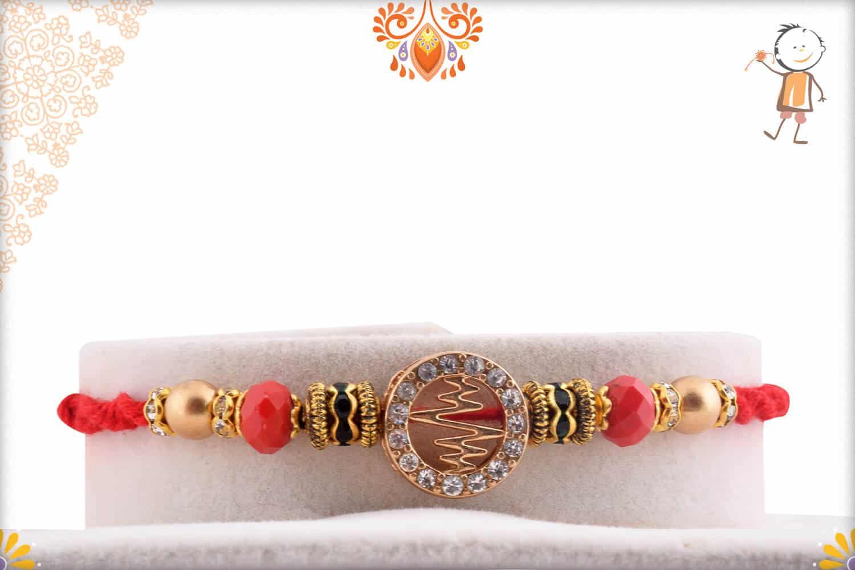 Unique Heart Beat Diamond Rakhi with Crystal Red Beads   Send Rakhi Gifts Online 1