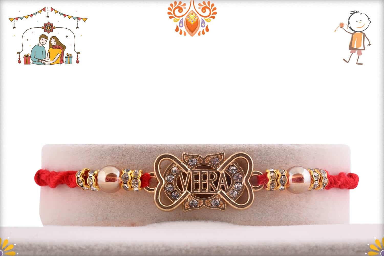 Unique Diamond Veera Rakhi with Beads | Send Rakhi Gifts Online 1