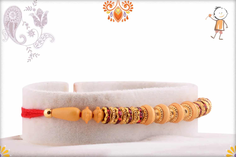 Classic Red Diamond Ring with Beads Rakhi | Send Rakhi Gifts Online 2