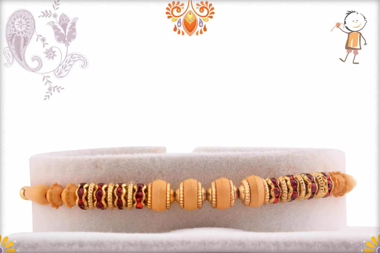 Classic Red Diamond Ring with Beads Rakhi | Send Rakhi Gifts Online 1