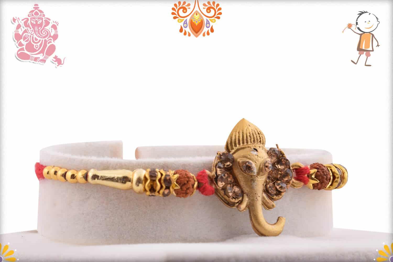 Golden Ganpati Rakhi with Diamonds and Rudraksh 1