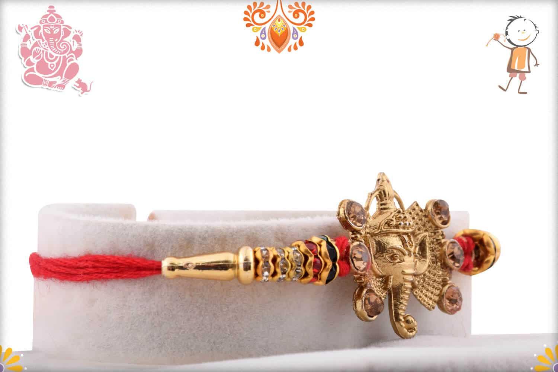 Golden Ganpati Rakhi with Diamonds 2