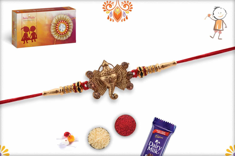 Golden Ganpati Rakhi with Diamonds 3