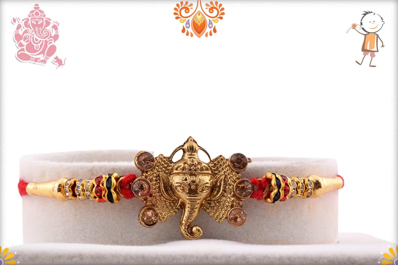 Golden Ganpati Rakhi with Diamonds 1
