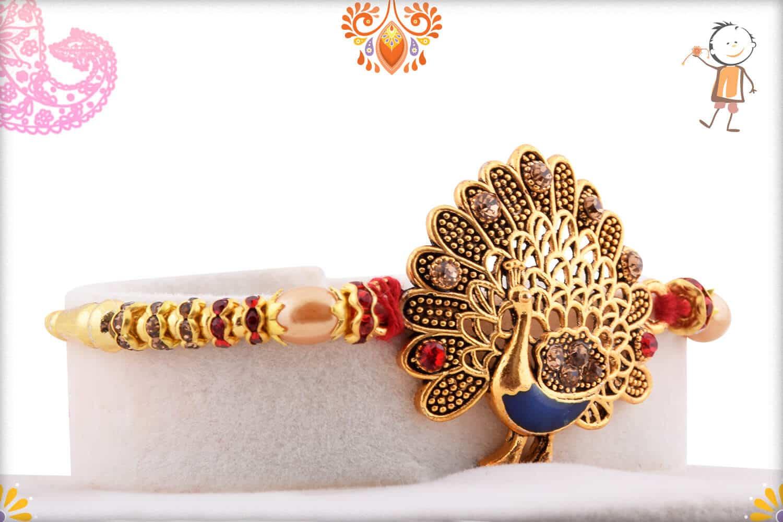Beautiful Peacock Rakhi with Diamonds and Pearls 2