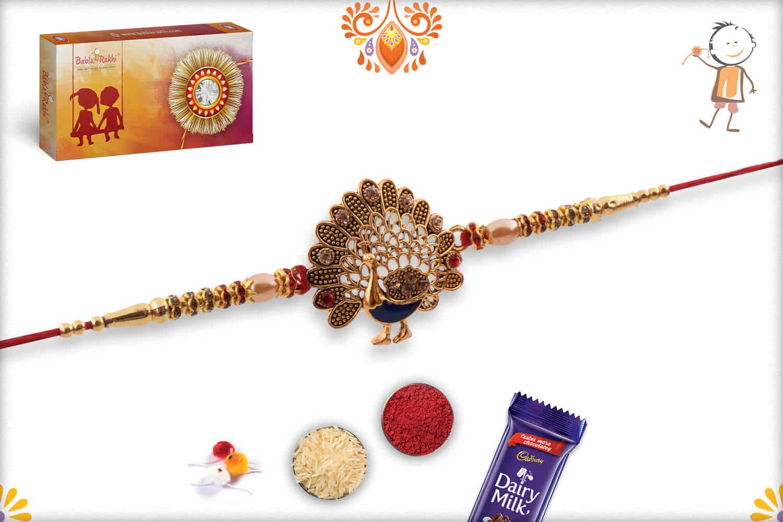 Beautiful Peacock Rakhi with Diamonds and Pearls 3