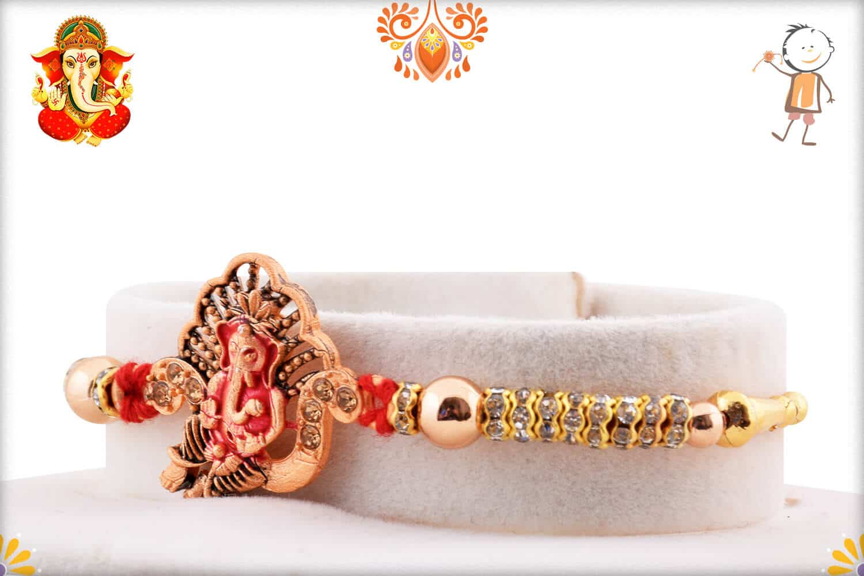 Divine Ganpati Rakhi with Diamonds and Golden Beads | Send Rakhi Gifts Online 2