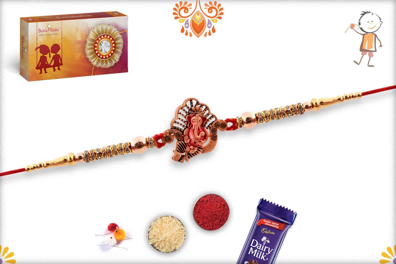 Divine Ganpati Rakhi with Diamonds and Golden Beads | Send Rakhi Gifts Online 3