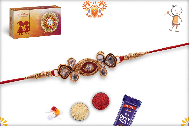Exclusive Kundan Rakhi with Golden Beads 2