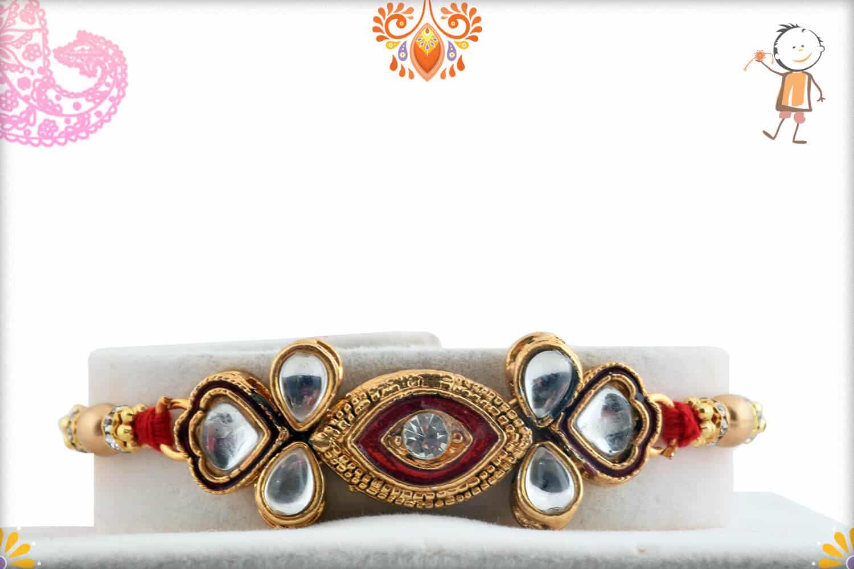 Exclusive Kundan Rakhi with Golden Beads 1