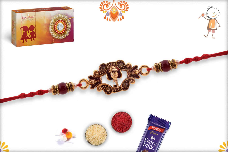 Designer Ganpati Rakhi with Pearls | Send Rakhi Gifts Online 2