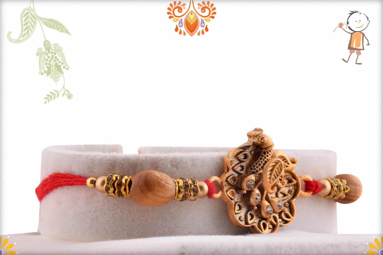 Exclusive Peacock Rakhi with Sandalwood Beads   Send Rakhi Gifts Online 2
