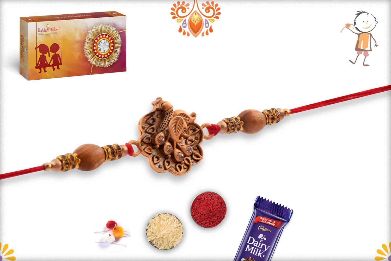 Exclusive Peacock Rakhi with Sandalwood Beads   Send Rakhi Gifts Online 3