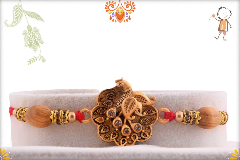 Exclusive Peacock Rakhi with Sandalwood Beads   Send Rakhi Gifts Online 1