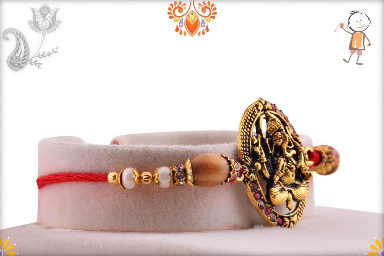 Antique Ganesh Rakhi with Sandalwood Beads | Send Rakhi Gifts Online 2