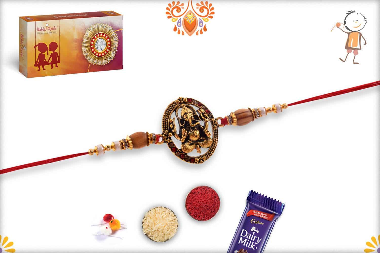 Antique Ganesh Rakhi with Sandalwood Beads | Send Rakhi Gifts Online 3
