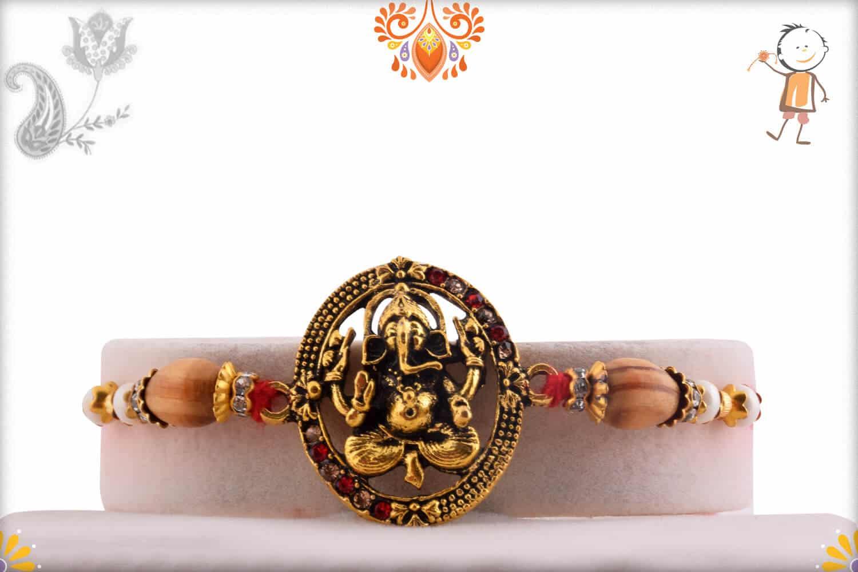 Antique Ganesh Rakhi with Sandalwood Beads | Send Rakhi Gifts Online 1