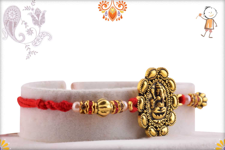 Exclusive Ganpati Rakhi with Desinger Beads   Send Rakhi Gifts Online 2