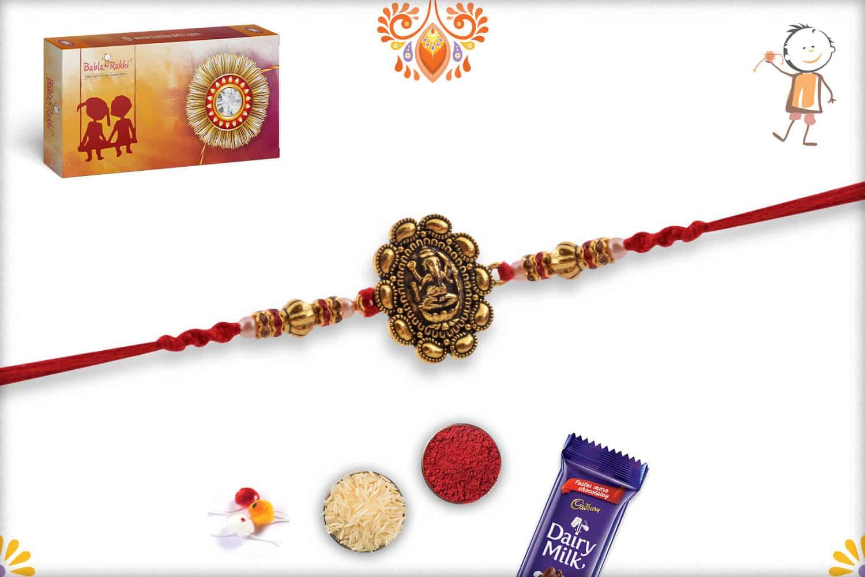 Exclusive Ganpati Rakhi with Desinger Beads   Send Rakhi Gifts Online 3