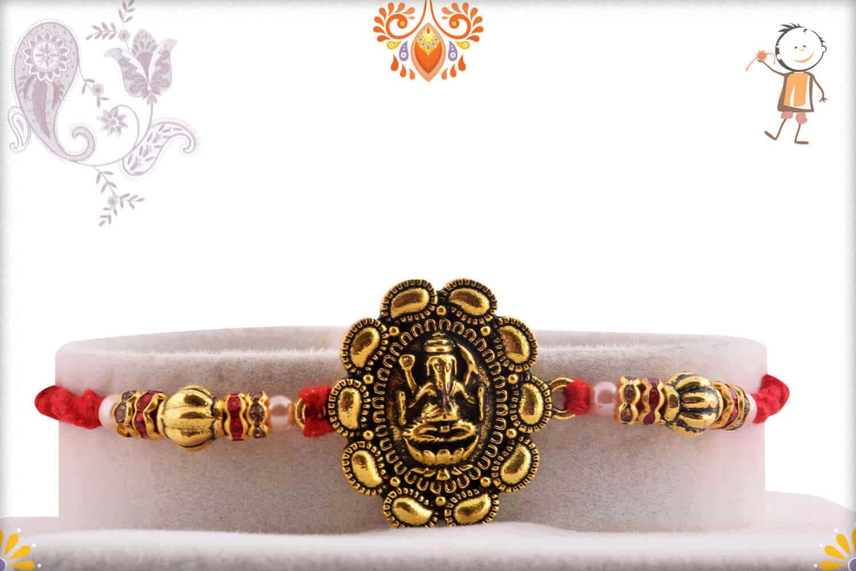 Exclusive Ganpati Rakhi with Desinger Beads   Send Rakhi Gifts Online 1