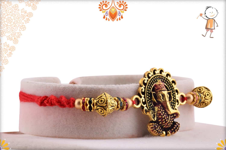 Premium Ganesh Rakhi with Desinger Beads | Send Rakhi Gifts Online 2