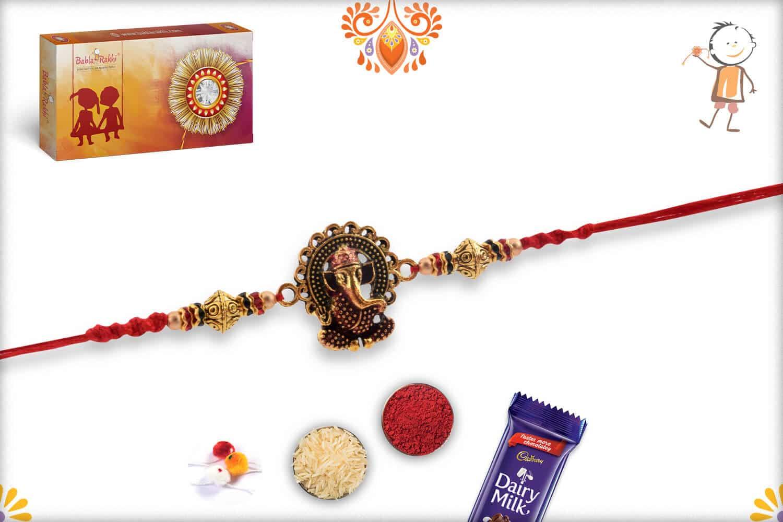 Premium Ganesh Rakhi with Desinger Beads | Send Rakhi Gifts Online 3