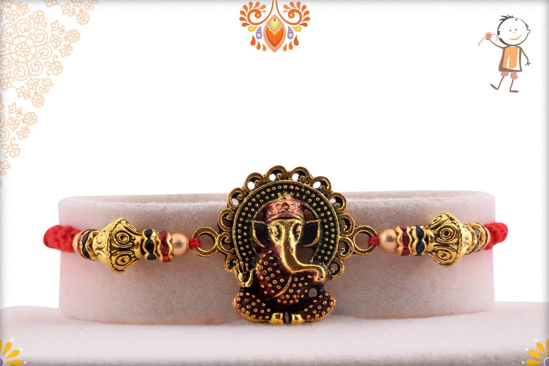 Premium Ganesh Rakhi with Desinger Beads | Send Rakhi Gifts Online 1