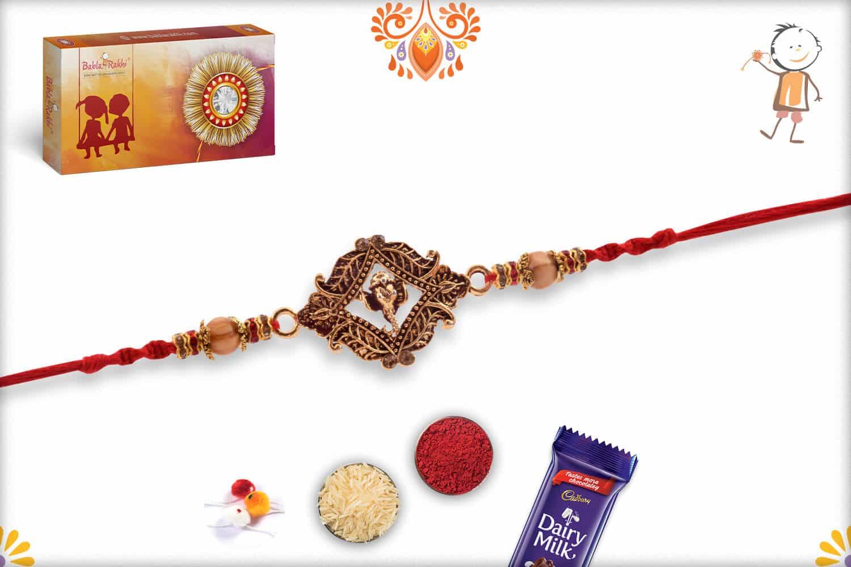 Auspicious Ganesha Rakhi with Sandalwood Beads   Send Rakhi Gifts Online 3