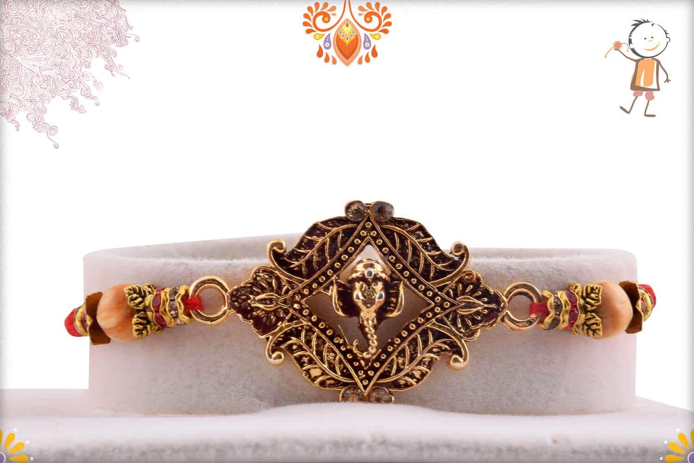 Auspicious Ganesha Rakhi with Sandalwood Beads   Send Rakhi Gifts Online 1