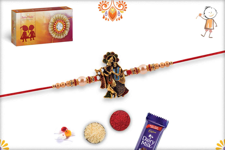 Exclusive Radha-Krishna Rakhi with Pearls   Send Rakhi Gifts Online 2
