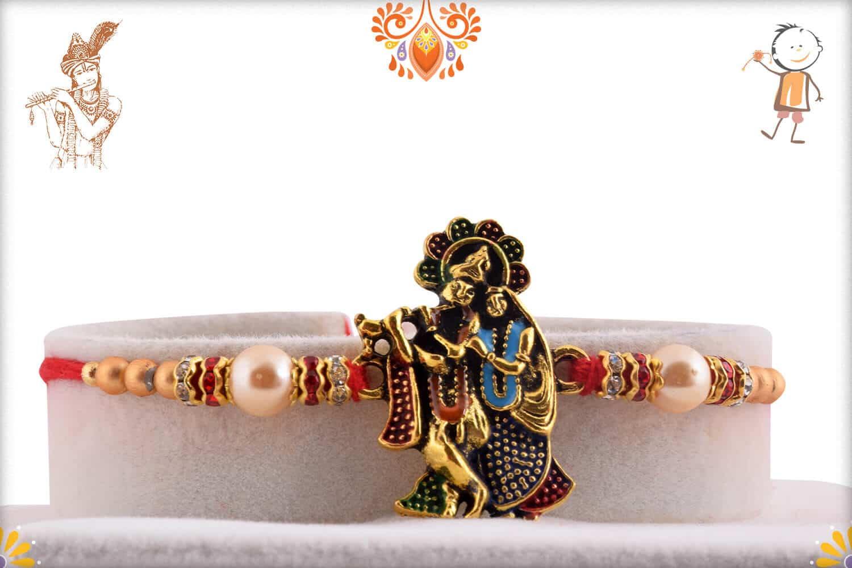 Exclusive Radha-Krishna Rakhi with Pearls   Send Rakhi Gifts Online 1